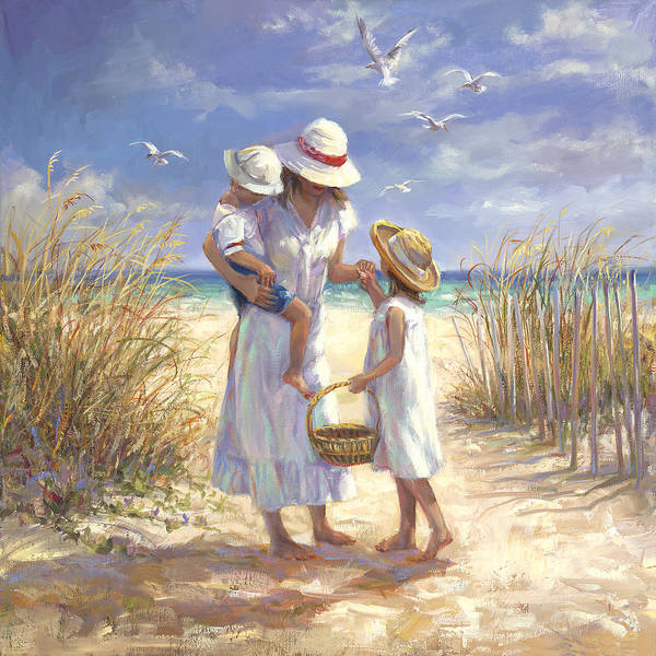Brother And Sister Wall Art - Painting - Mothers Day Beach by Laurie Snow Hein
