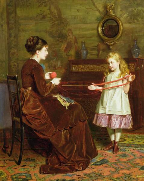Tapestry Painting - Mothers Little Helper by George Goodwin Kilburne
