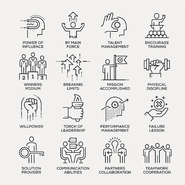 Motivation Icon Set - Line Series Art Print by Enis Aksoy