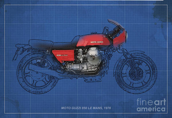 Le Mans Mixed Media - Moto Guzzi 850 Le Mans 1976 by Drawspots Illustrations