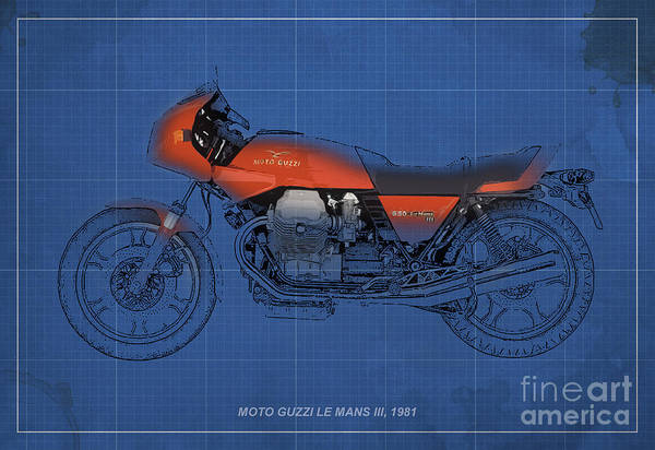 Le Mans Mixed Media - Moto Guzzi Le Mans IIi 1981 Vintage Style by Drawspots Illustrations