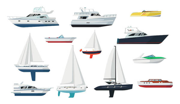 Luxury Yacht Digital Art - Motor Boat And Sailboat Set by Primo-piano