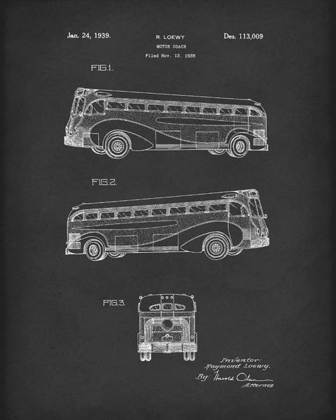 Drawing - Motor Coach 1939 Patent Art Black by Prior Art Design