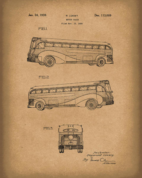 Drawing - Motor Coach 1939 Patent Art Brown by Prior Art Design