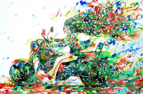 Road Runner Wall Art - Painting - Motor Demon Running Fast by Fabrizio Cassetta