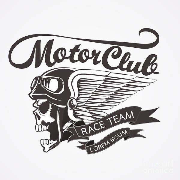 Biker Wall Art - Digital Art - Motor Skull Crest Graphic. - Vector by Pand P Studio
