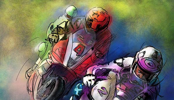 Bike Racing Painting - Motorbike Racing 01 by Miki De Goodaboom