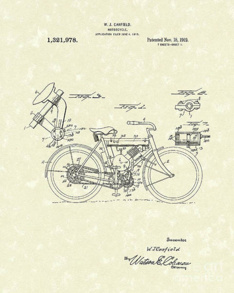 Wall Art - Drawing - Motorcycle 1919 Patent Art by Prior Art Design