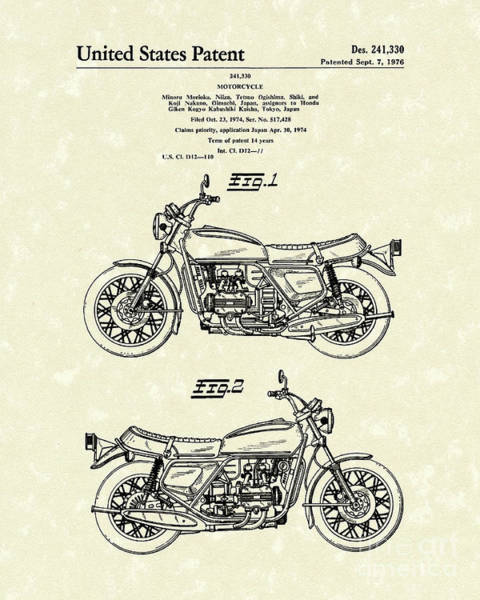 Wall Art - Drawing - Motorcycle 1976 Patent Art by Prior Art Design