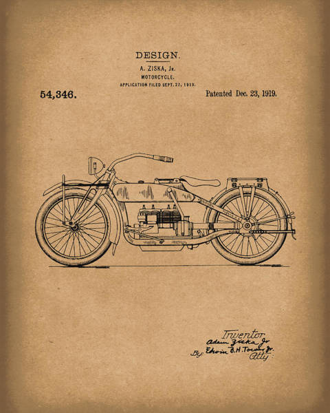 Drawing - Motorcycle Design 1919 Patent Art Brown by Prior Art Design