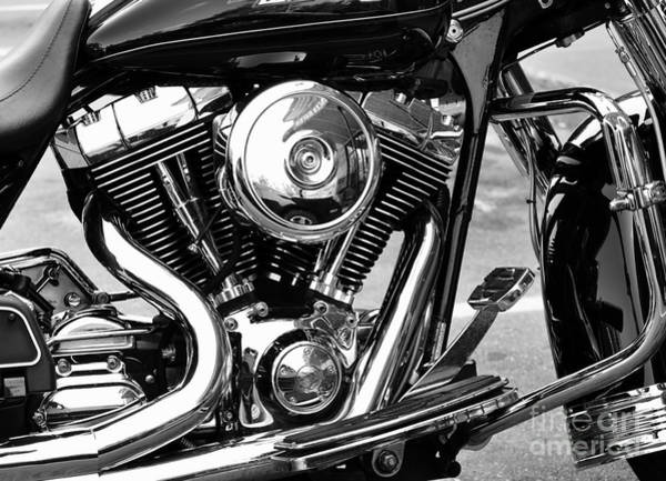 Photograph - Motorcycle Engine Black And White by Staci Bigelow