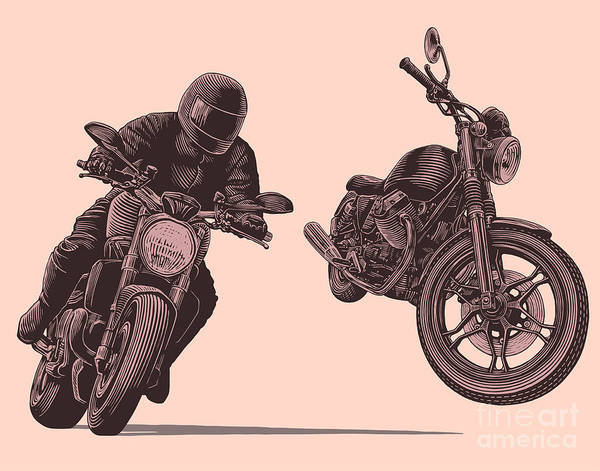 Wall Art - Digital Art - Motorcycle. Hand Drawn Engraving by Marzufello