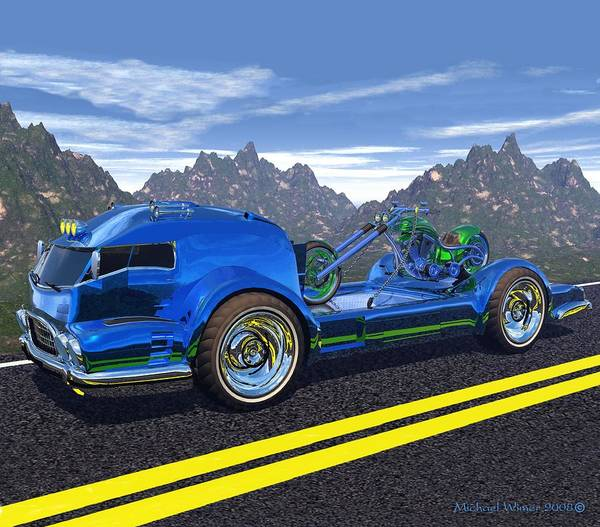 Speed Boat Digital Art - Motorcycle Hauler by Michael Wimer