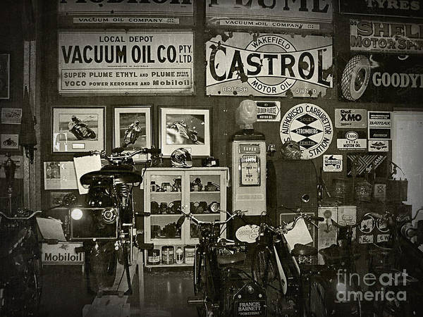 Racing Shell Photograph - Motorcycle Museum - Oils - Old Signage by Kaye Menner
