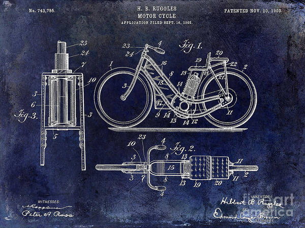 Victory Motorcycle Photograph - 1903 Motorcycle Patent Blue by Jon Neidert