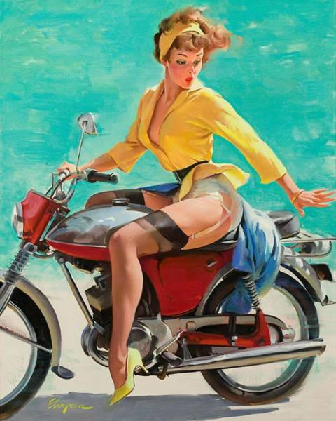 Pin Up Wall Art - Painting - Motorcycle Pinup Girl by Gil Elvgren