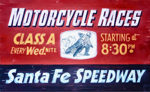 Bike Race Photograph - Motorcycle Races Santa Fe Speedway by Bill Cannon