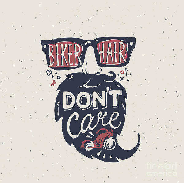 Typographic Wall Art - Digital Art - Motorcycle Rider . Biker Hair Dont by Iriskana