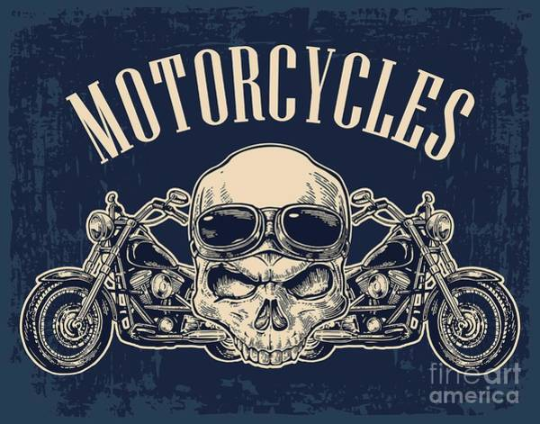 Emblem Wall Art - Digital Art - Motorcycle Side View And Skull With by Morevector