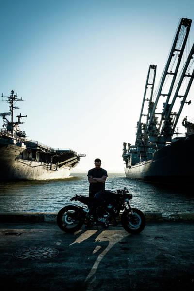 Motorcyclist At The Docks Art Print