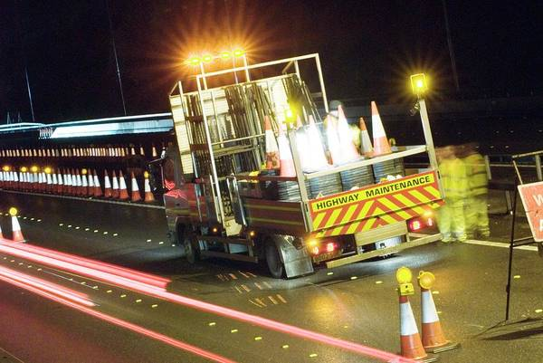 Wall Art - Photograph - Motorway Lane Closure Vehicle by Trl Ltd./science Photo Library