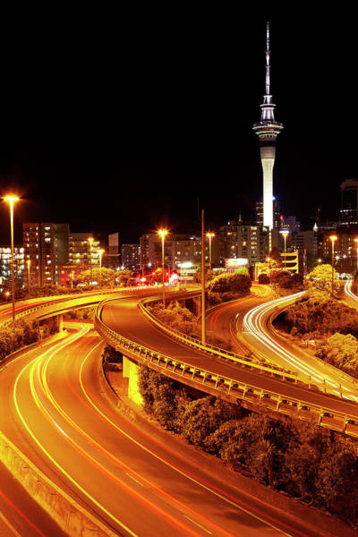 Commute Photograph - Motorways And Skytower, Auckland, North by David Wall