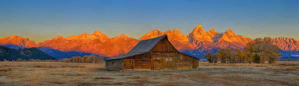 Photograph - Moulton Barn Alpenglow Panorama by Greg Norrell