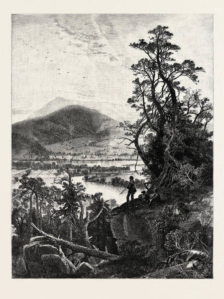 1924 Drawing - Mount Ascutney, Connecticut Valley, Usa. The Name Ascutney by J.d. Woodward, John Douglas (1846?1924), American