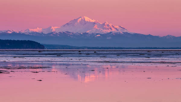 Photograph - Mount Baker At Sunset From Boundary Bay by Pierre Leclerc Photography