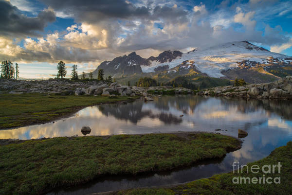 Baker Photograph - Mount Baker Vivid Golden Cloudscape by Mike Reid