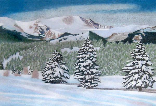 Drawing - Mount Evans Winter by Dan Miller
