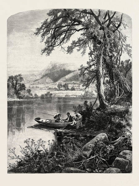 1924 Drawing - Mount Holyoke, From The Connecticut River by J.d. Woodward, John Douglas (1846?1924), American