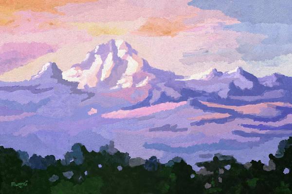 Uganda Painting - Mount Kenya At Dawn by Anthony Mwangi