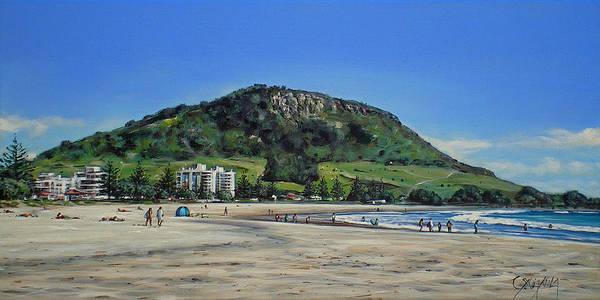 Sunbather Wall Art - Painting - Mount Maunganui Beach 151209 by Sylvia Kula