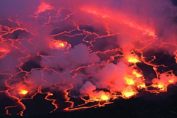Volcanic Craters Photograph - Mount Nyiragongo Lava Lake by Martin Rietze/science Photo Library