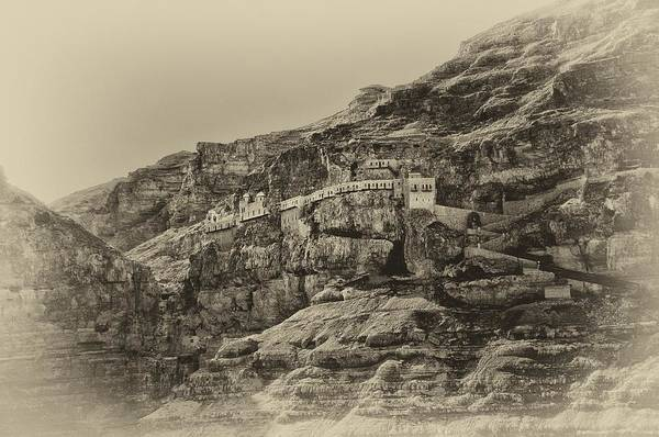 Photograph - Mount Of The Temptation Monestary Jericho Israel Antiqued by Mark Fuller