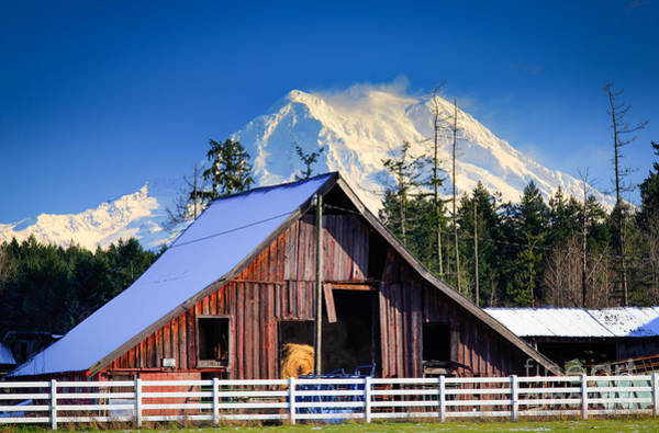 Mount Rainier Photograph - Mount Rainier And Barn by Inge Johnsson