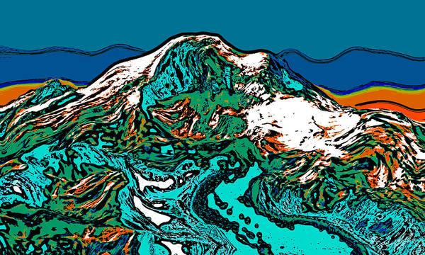 Mounted Digital Art - Mount Rainier - Washington by David G Paul