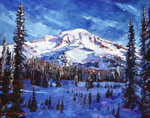 Volcanoe Painting - Mount Rainier Impressions by David Lloyd Glover