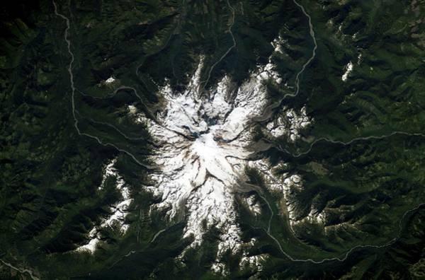 Active Volcano Photograph - Mount Rainier by Nasa/science Photo Library
