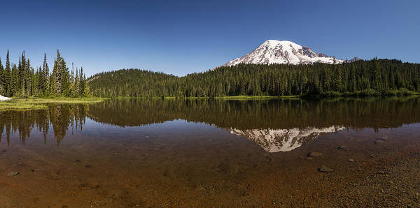 Photograph - Mount Rainier Reflection Lake Panorama by Lee Kirchhevel
