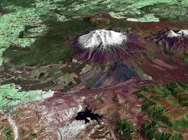 Active Volcano Photograph - Mount Ruapehu by Nasa/science Photo Library