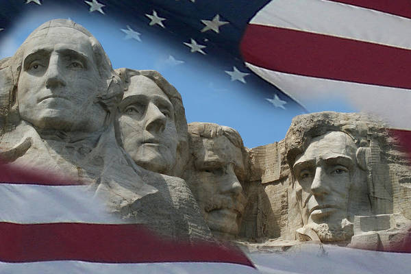 Mounted Digital Art - Mount Rushmore 1 by Ernie Echols