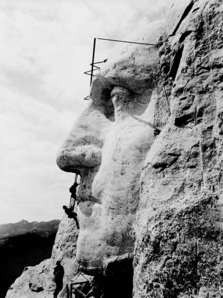 South Dakota Wall Art - Photograph - Mount Rushmore Construction Photo by War Is Hell Store