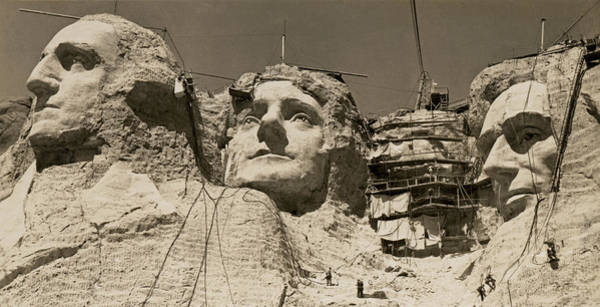 Thomas Jefferson Photograph - Mount Rushmore Construction by Underwood Archives