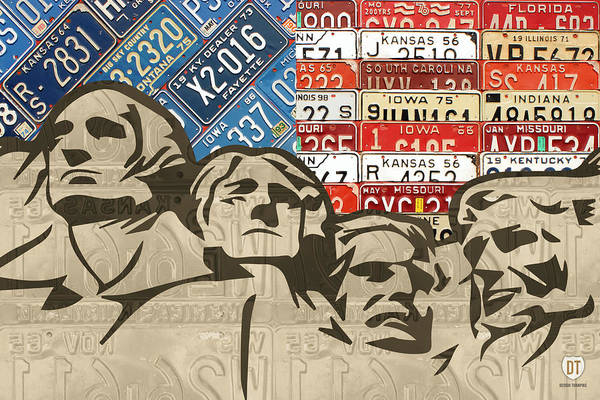 Vintage Automobiles Mixed Media - Mount Rushmore Monument Vintage Recycled License Plate Art by Design Turnpike
