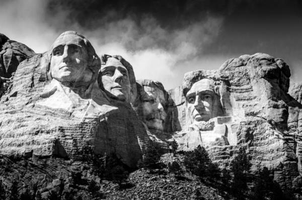 Wall Art - Photograph - Mount Rushmore National Memorial In Black And White by Debra Martz