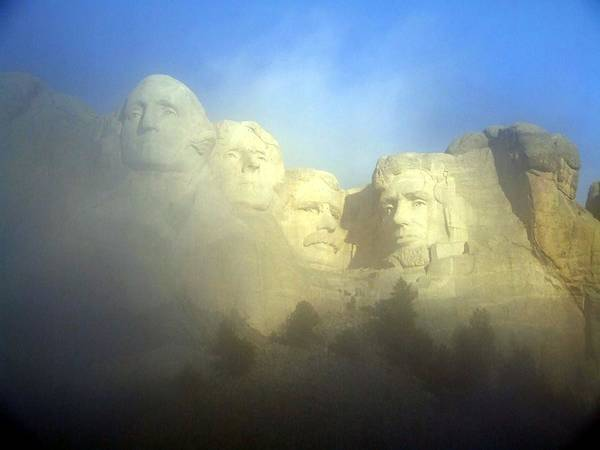 Granite State Digital Art - Mount Rushmore National Memorial Through The Fog  by National Parks Service