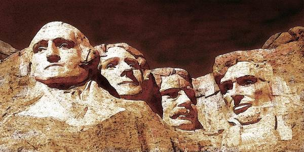 Painting - Mount Rushmore National Monument South Dakota - American Presidents Drawing by Peter Potter