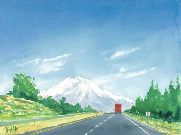 Interstate 5 Wall Art - Painting - Mount Shasta Highway by Ray Cole
